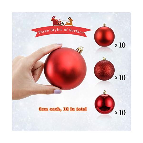 LessMo Palle di Natale (Rosso, 8cm) 5 spesavip