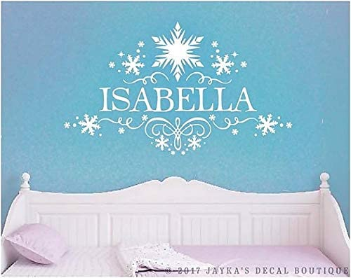 """FROZEN ELSA NAME PERSONALIZED LARGE 22/"""" TALL GIRLS BEDROOM WALL ART VINYL DECAL"""
