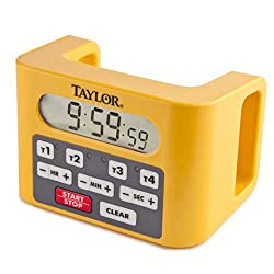 Taylor 5839N Digital 4-Channel Commercial Kitchen Countdown Timer, Water Resistant, Yellow