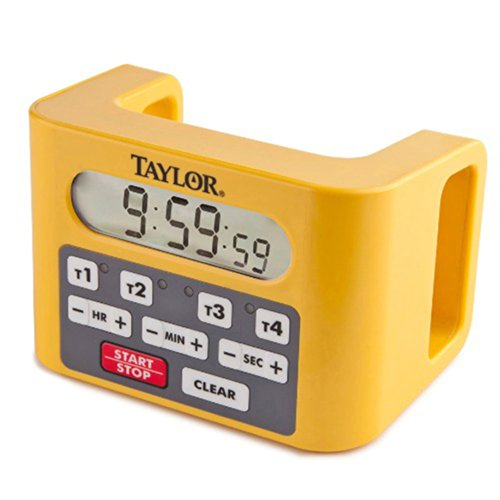 Taylor 5839N Digital 4-Channel Commercial Kitchen Countdown Timer, Water Resistant, Yellow - Event Digital Timer