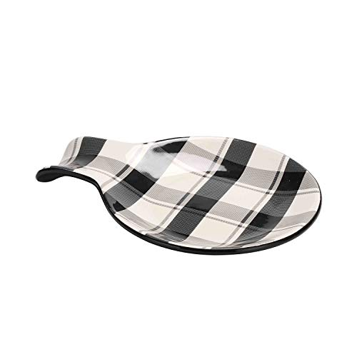 Bico Plaid Check Black and White Ceramic Spoon Rest, Dishwasher Safe