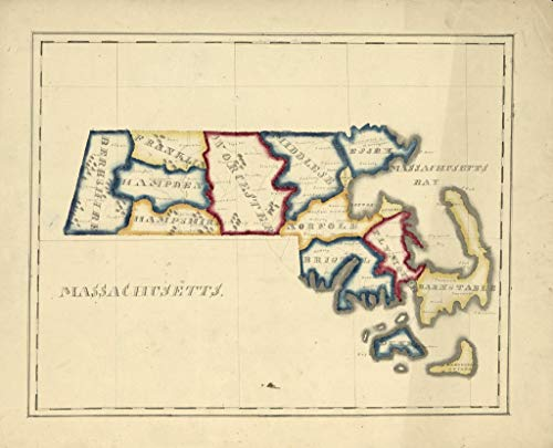 Art Oyster Vintage Map of Massachusetts, 1820-43
