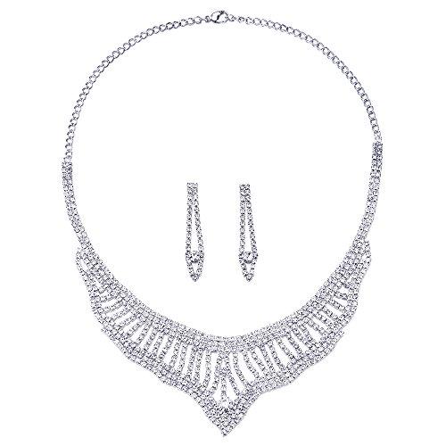 COOLSTEELANDBEYOND Wedding Bridal Rhinestone Cluster Chains Bib Choker Collar V-shape Statement Necklace Earrings Set