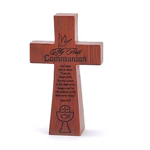 My First Communion John 6:35 Woodgrain 7 x 5.5 Resin Stone Table Top Cross