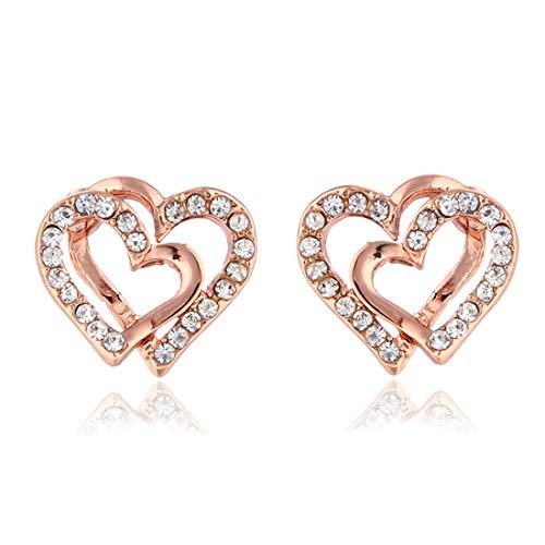 Rose Gold Double Love Heart Earrings Crystal Weding Party heart Earrings for Women Bridal Jewelry-Rose Gold ()