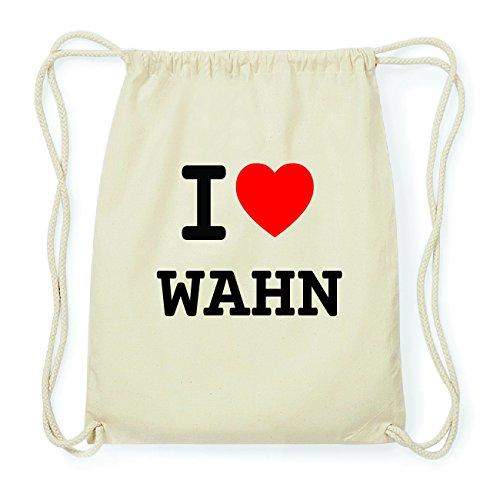 JOllify WAHN Hipster Turnbeutel Tasche Rucksack aus Baumwolle - Farbe: natur Design: I love- Ich liebe m0R15WZJb