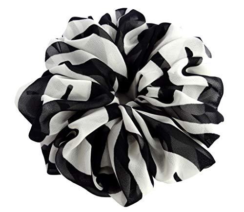 Black White Striped Zebra Large Chiffon Scrunchies Stylish Accessories Hair Band Ponytail Holder Teen Girls Women