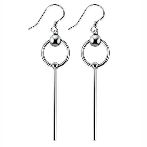 925 Sterling Silver Bead with Long Line Bar Dangle Earrings