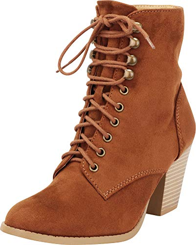 Cambridge Select Women's Closed Toe Victorian Steampunk Lace-up Chunky Stacked Heel Ankle Bootie,8 B(M) US,Chestnut IMSU -