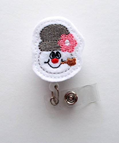 Snowman with Pipe - Retractable ID Felt Badge Holder - Christmas Badge Reel - Nurses Badge Holder - Pharmacy Badge - Teacher Badge - RN - Felt Applique