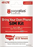 Wireless : Page Plus SIM CARD 4G LTE 3 in 1 Sim Kit, Black (Nano-Micro-Standard)