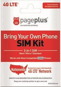 Page Plus SIM CARD 4G LTE 3 in 1 Sim Kit, Black (Nano-Micro-Standard)