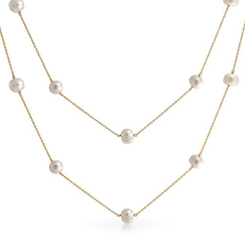 White Freshwater Cultured Pearl Tin Cup Long Necklace For Women 14K Gold Plated Sterling Silver 36 Inch