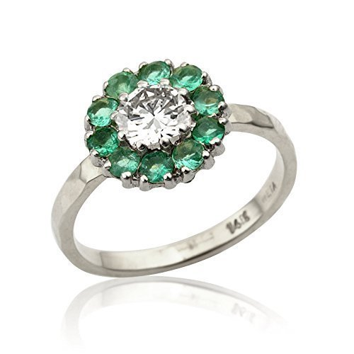 Handmade Flower 0.03 Ct Emerald and Natural 0.35 Ct VS2 Diamond Engagement Ring 14K White Gold Size 4.5 - 5.5