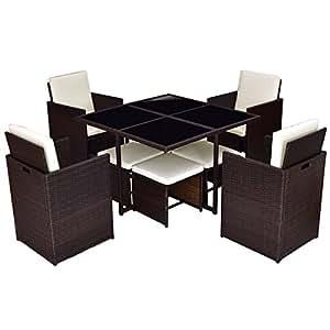 Patio 9Pcs Rectangle Rattan Table Furniture Set w/ 4 Chair & Ottomans