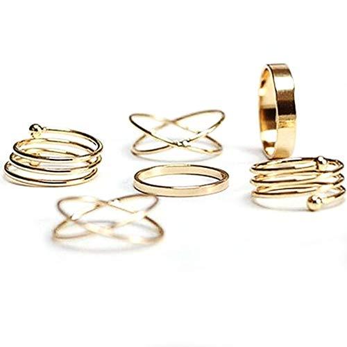 HighPlus Forever 21 Ring Set Basic Cross Spiral Metallic Ring Six Pieces Golden