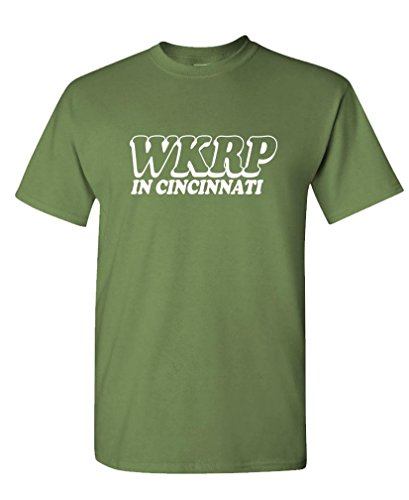 The Goozler WKRP Cincinnati - 70's Retro tv Comedy Show - Mens Cotton Tee, XL, Military -