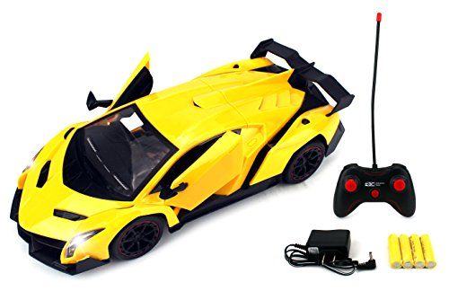 Formula Hyper Car Remote Control RC Sports Car 1:14 Scale Size Rechargeable Ready To Run w/ LED Headlights, Opening Doors (Colors May Vary) ()