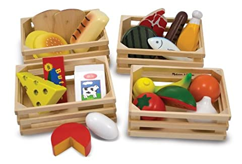 Melissa & Doug Food Groups - 21 Hand-Painted Wooden Pieces and 4 Crates - Hand Painted Train Toy