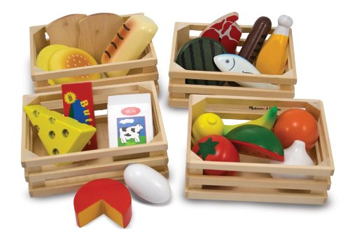 Cereal And Milk Costume - Melissa & Doug Food Groups - 21 Hand-Painted Wooden Pieces and 4 Crates