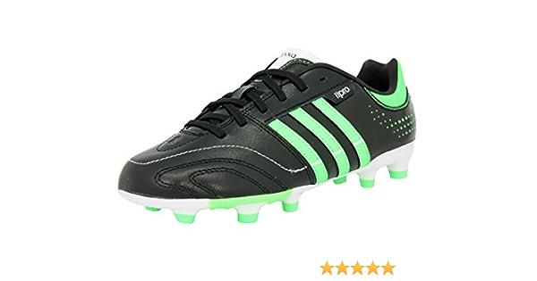 Adidas 11NOVA TRX FG J Zapatillas Futbol Soccer Cuero Negro Verde para Ninos
