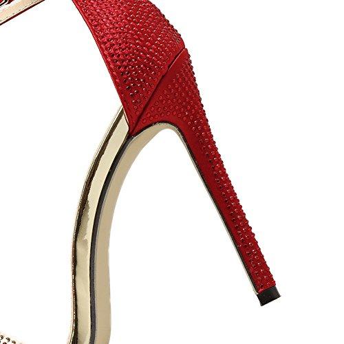 Stiletto Plataforma Imitación Diamantes Alta De Zapatos Tacón Correa Fiesta GZSL Hueco De Baile Sexy KJJDE 380 Cinturón Mujer Red Tobillo Hebilla De Sandalias RHwvxv7