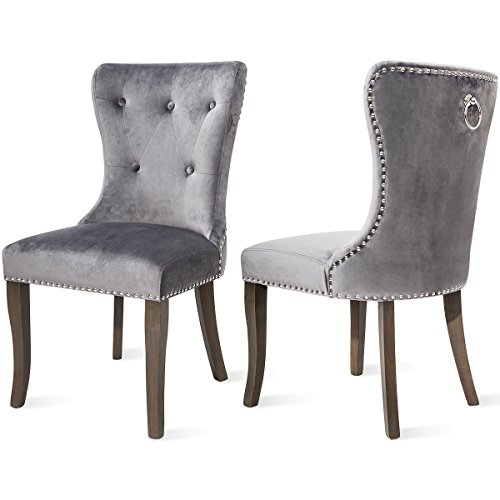 Dining Chairs Set of 2, Upholstered Grey Accent Chair Button Tufted Armless Chair with Nailhead Trim and Back Ring Pull, with Upgraded Size 20.5