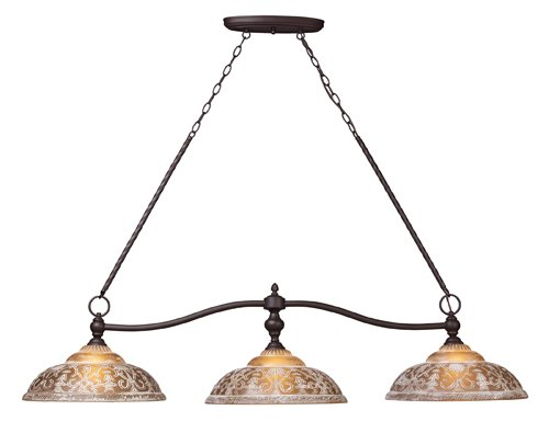 Landmark Tiffany Kitchen Island (Elk 66195-3 Norwich 3-Light Billiard Light, 14-Inch, Oiled)