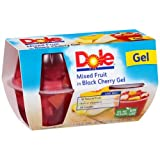 Dole Gel Bowls Mixed Fruit in Black Cherry Gel  - 1 Pack of 4 cups  - 4.3 ounces each