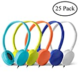 Wholesale Bulk Headphones Earphones Earbuds - Kaysent(KHP-25Mixed) 25 Packs Mixed Colors(Each 5 Pack) Stereo Headphone for School, Classroom, Airplane, Hospiital, Students,Kids and Adults