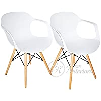 White Plastic Molded Dining Armchairs Modern with Natural Wood Legs Set of 2