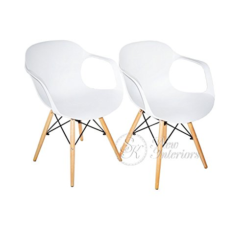 White Plastic Molded Dining Armchairs Modern Natural Wood Legs Set of 2 Review