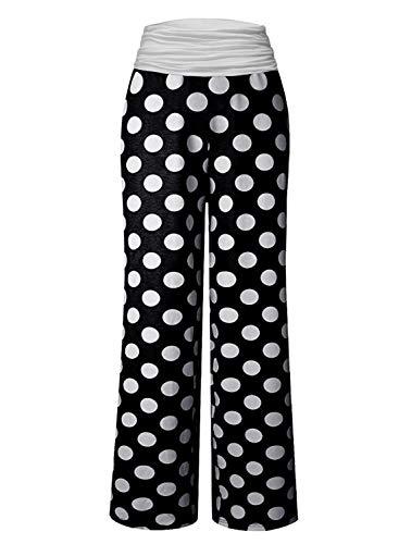 Gracyoga Women's Comfy Pajama Pants Wide Leg Lounge Palazzo Yoga Pants Stretch Casual Floral Print Fold Waist Pants