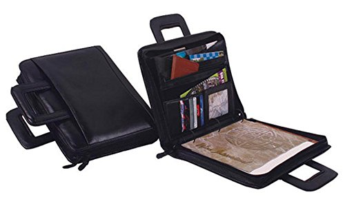 (Winn International Harness Cowhide Leather Portfolio with 3 Ring Binder in Black)