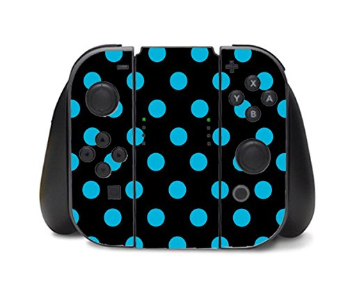 Blue Teal Polka Dot Polka Dots Black Background Nintendo Switch Controller Vinyl Decal Sticker Skin by Moonlight Printing