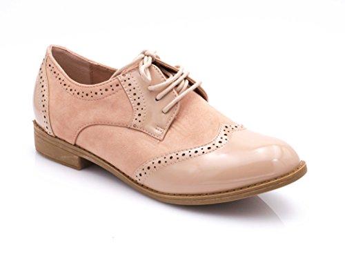 En Richelieu Femmes Dames maitère Shoes Fashion Vernis Rose Bas Derbies Et Lacet Chaussures Talon Dentelle Bi Daim Pale Bloc w7ft8