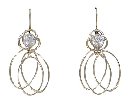 Spinning Studs Jewelry (Convertiblez Spinning Spirals Earring Dangle Jacket and Stud Set in Silver Alloy)