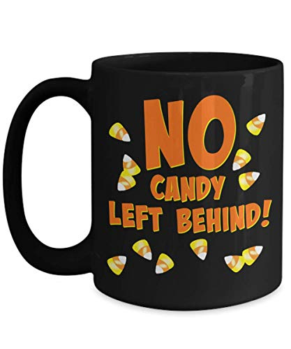 (Candy corn mug - No candy left behind! - Halloween Trick or treat gift for youth or adult - coffee hot chocolate)