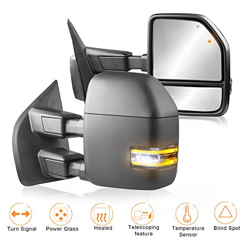 (MOSTPLUS New Power Heated Towing Mirrors w/Temperature Sensor for Ford Super Duty F-250 F-350 F-450 F-550 2017 2018 w/Blind Spot,Turn Signal,Clearance and Auxiliary Lamp(Set of 2))
