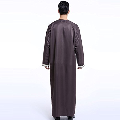 Szpanda Costume National Traditionnel Musulman Robe Islamic Thawb Robes Abaya Pour Hommes Arab / Moyen-orient, Longue Lumière À Manches Jaunes