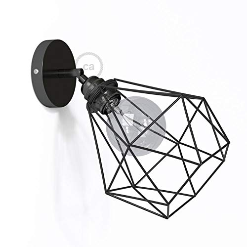 Fermaluce Metallo 90° Black Pearl Adjustable with Diamond lampshade, The Metal Wall Flush Light ()