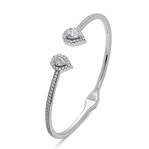 Crush & Fancy Pavè Crystal Bangle Bracelet | 925 Sterling Silver Bangle Bracelet with Crystals | Crystal Bangle with Teardrop Centers | Perfect for Stacking Bangles (CLEO) by Crush & Fancy