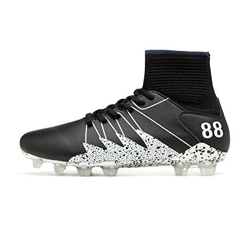 Xing Lin Chaussures De Football De Nouvelles Chaussures Hommes Et Femmes Chaussettes Chaussette Haute Sneakers Crampon Antidérapant Ronde Adultes Jeunes Clous Sneakers, 43, Le Frêne Noir