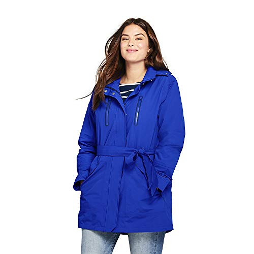 Lands' End Women's Plus Size Lightweight Belted Squall Raincoat, 1X, Electric Blue