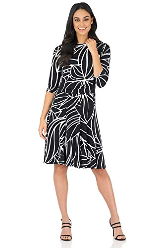 (Rekucci Women's Flippy Fit N' Flare Dress with 3/4 Sleeves (10,Black/White))