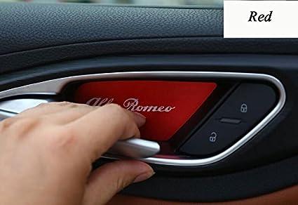 Herben for Alfa Romeo Giulia Stelvio 2017 Car-Styling Aluminum Interior Door Bowl Cover Trim Accessories Set of 4pcs Blue