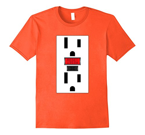 [Mens Electrical Outlet, Funny Simple Halloween Tshirt 3XL Orange] (Wall Socket Halloween Costume)