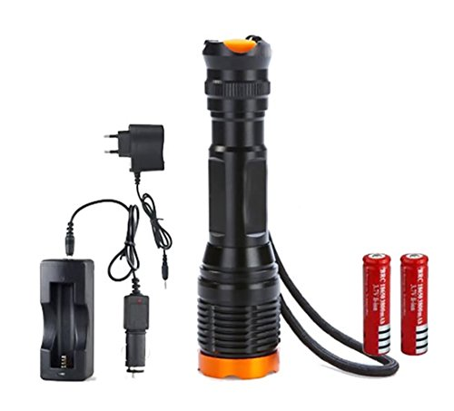 Black 2000LM Lamp Torch CREE T6 LED Flashlight+ Plastic Tube+Holster Holder +AAA battery holder+Power Adapter +Car Charger +DC Charger+2 x 18650 Rechargeable Battery