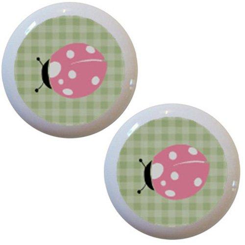 Set of 2 Pink Ladybug Green Gingham Ceramic Cabinet Drawer - Gingham Knob Pink