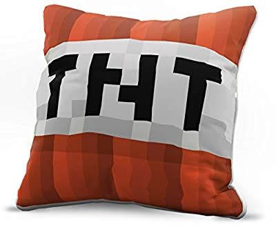 Jay Franco Minecraft TNT Decorative Pillow Cover - Kids Super Soft 1-Pack Throw Pillow Cover - Measures 15 Inches x 15 Inches (Official Minecraft Product)